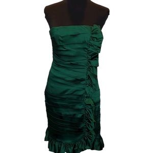 Green Strapless Ruffled Formal Dress.       D093